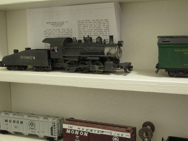 This 0-6-0 sitting on a display shelf caught my attention as it is a Rex model (similar to an old HO Mantua Kit).  Roger did a nice job finishing it, but I'd guess it does not operate as well as the SHS SW1 so became a display item.