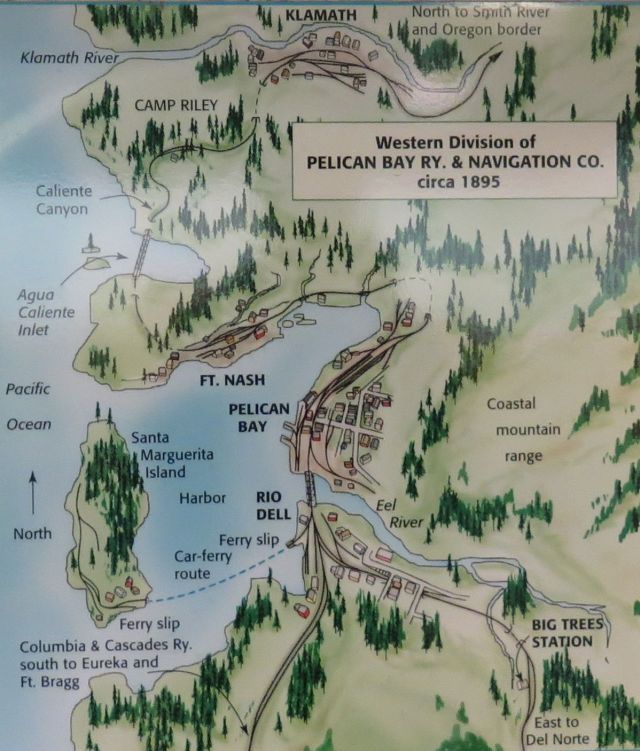 This map was on Paul's wall.  It shows the railroad as originally envisioned in one room (before expansion to Silverado).  In what follows, I describe the railroad from East (or maybe South) to West (North at Klamath)
