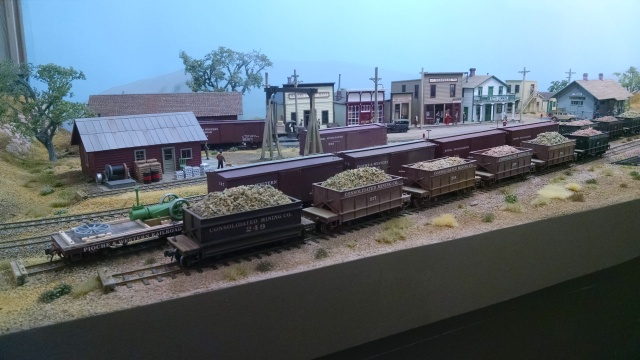 Bob has a nice town scene on one side of the backdrop.