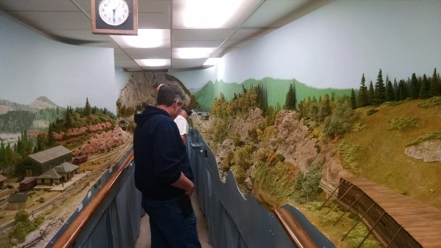 Here's a shot of the layout looking toward Ophir.  That's Steve taking in the scenery